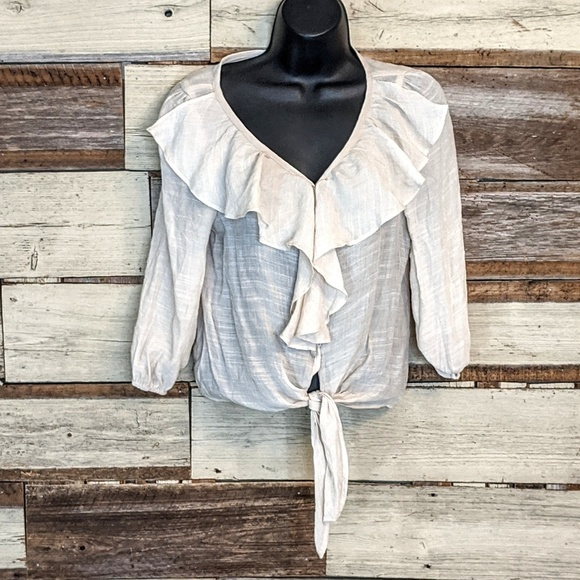 mine Tops - Off White Sexy Tie At The Waist Boho Shirt sz S